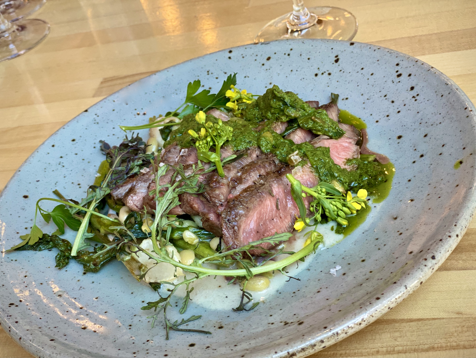 Birch flat iron steak with pumpkin seed chimichurri