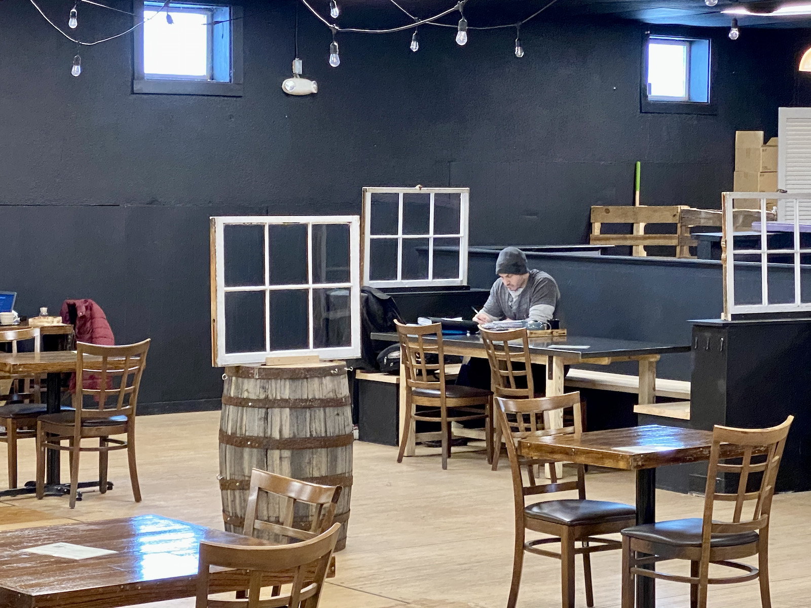 Seating area at Hawthorne Coffee