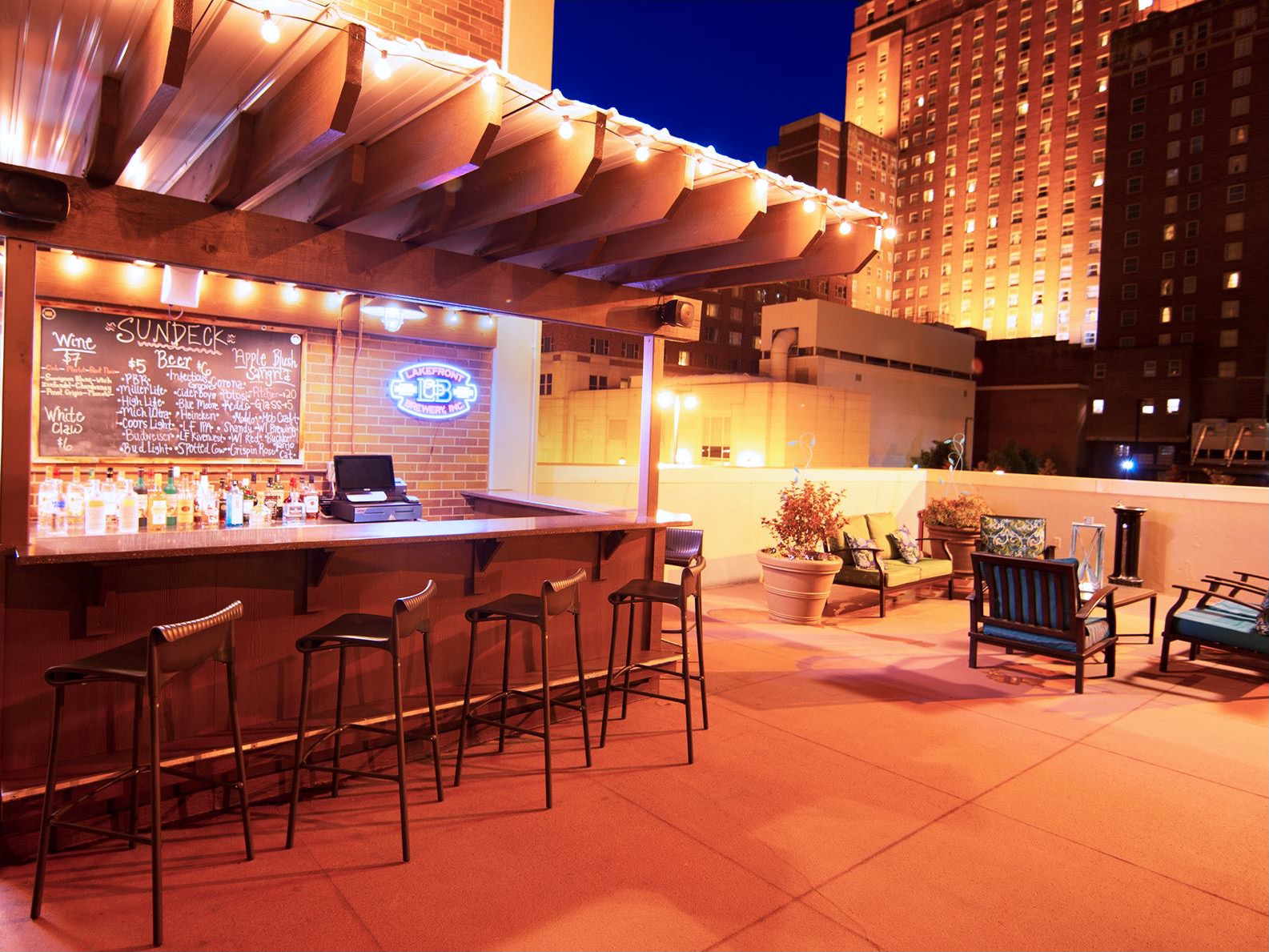 The Sundeck rooftop patio at DoubleTree Hotel