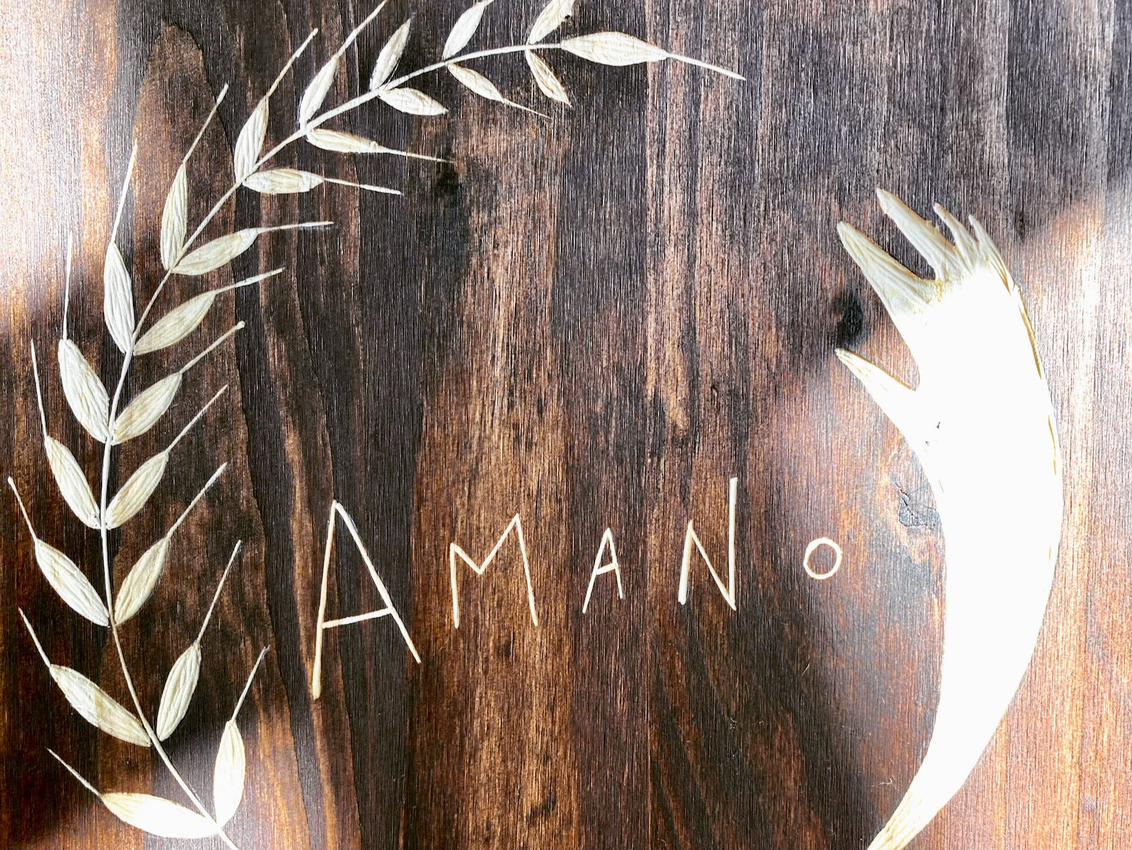 Amano Pan logo on wood