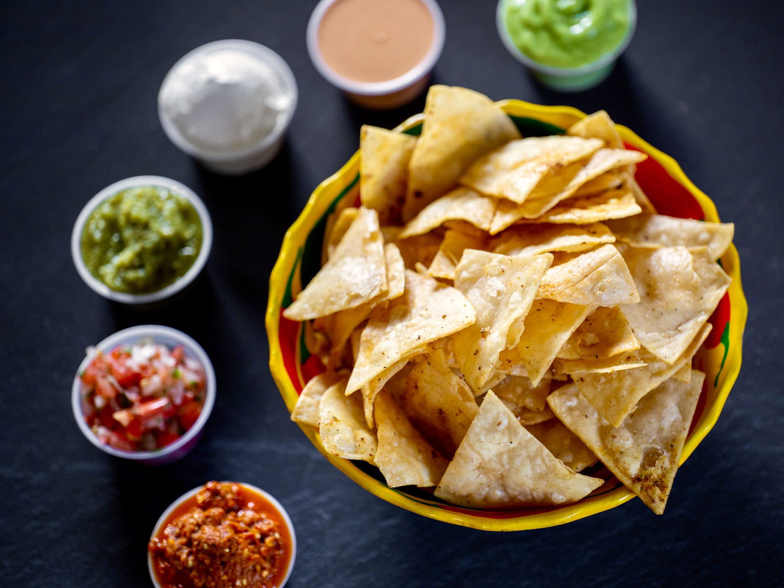 tortilla chips and salsas