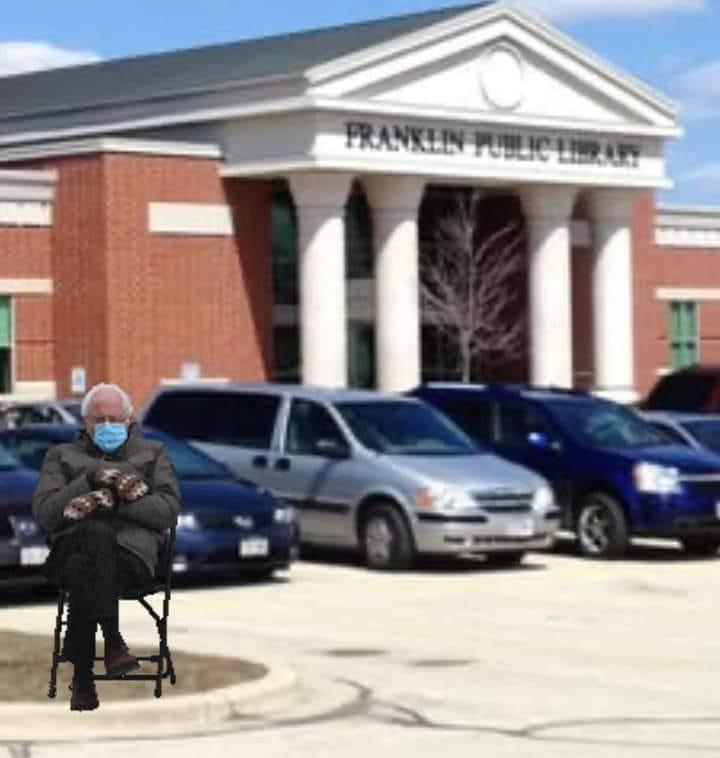 Bernie meme Franklin library