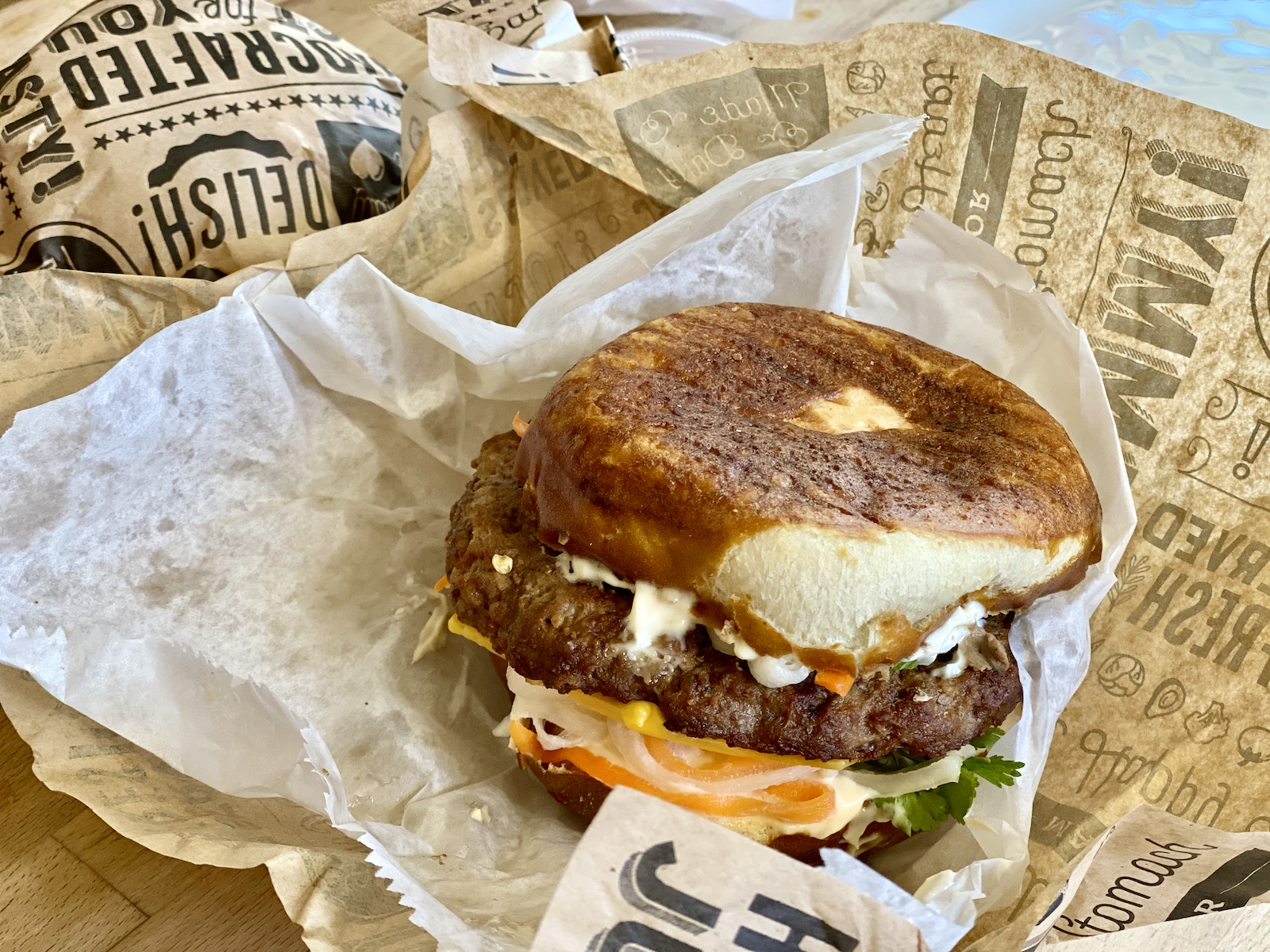 The Banh Mi Burger in its packaging