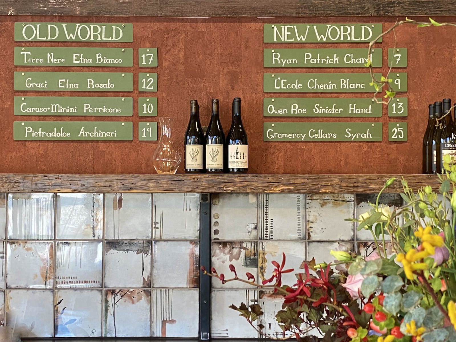 Old and new world wine selections posted on back bar