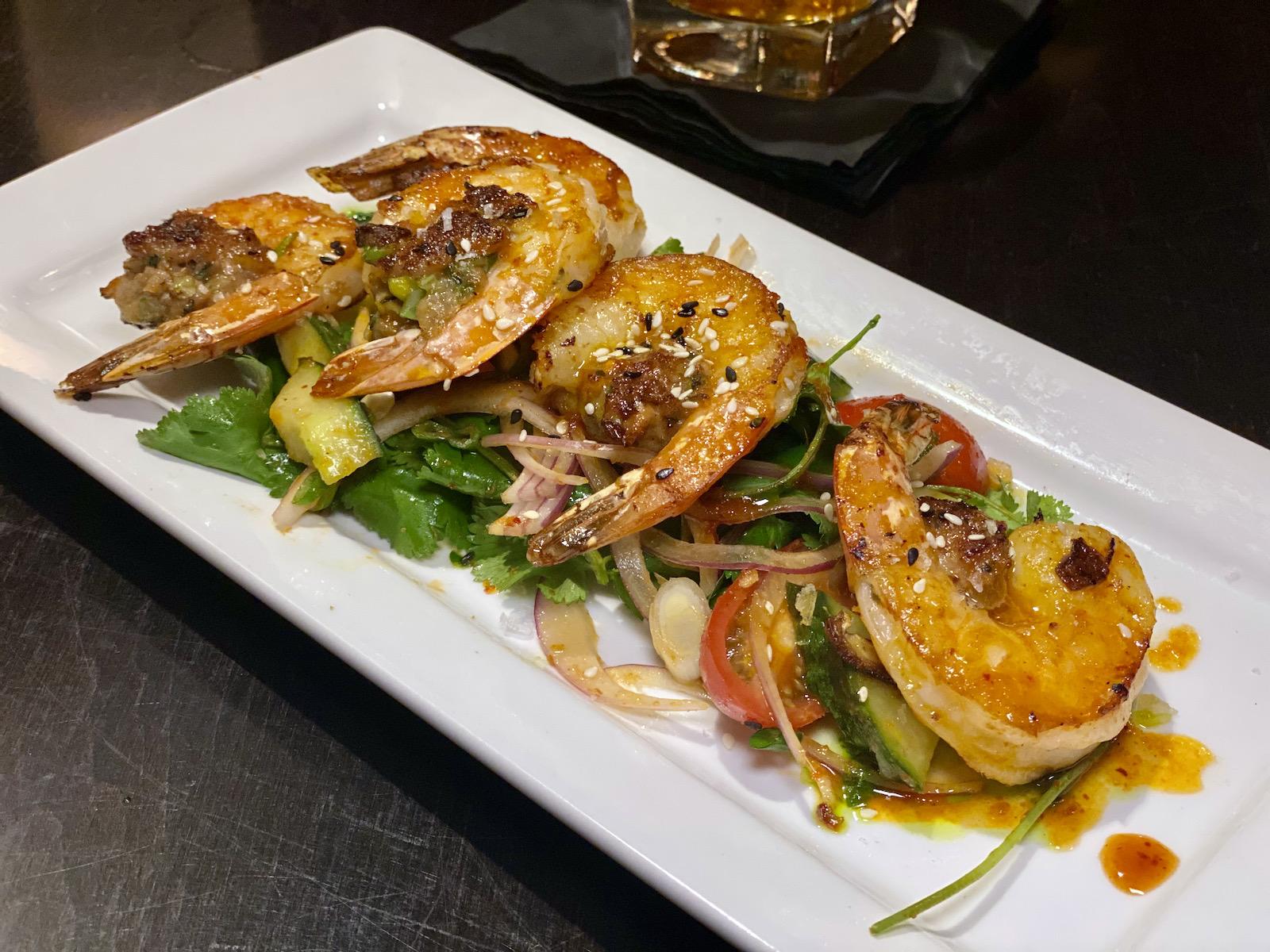Thai sausage stuffed shrimp
