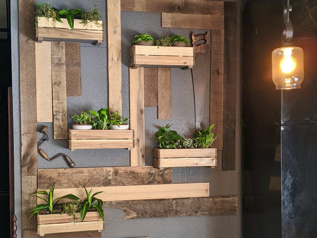 Rustic wood, tools and plants