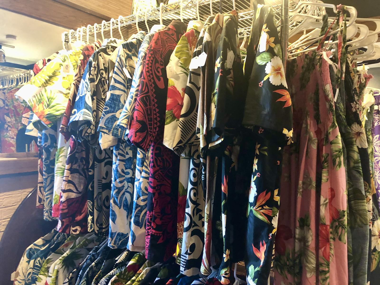 Hawaiian clothing at Ono Kine Grindz