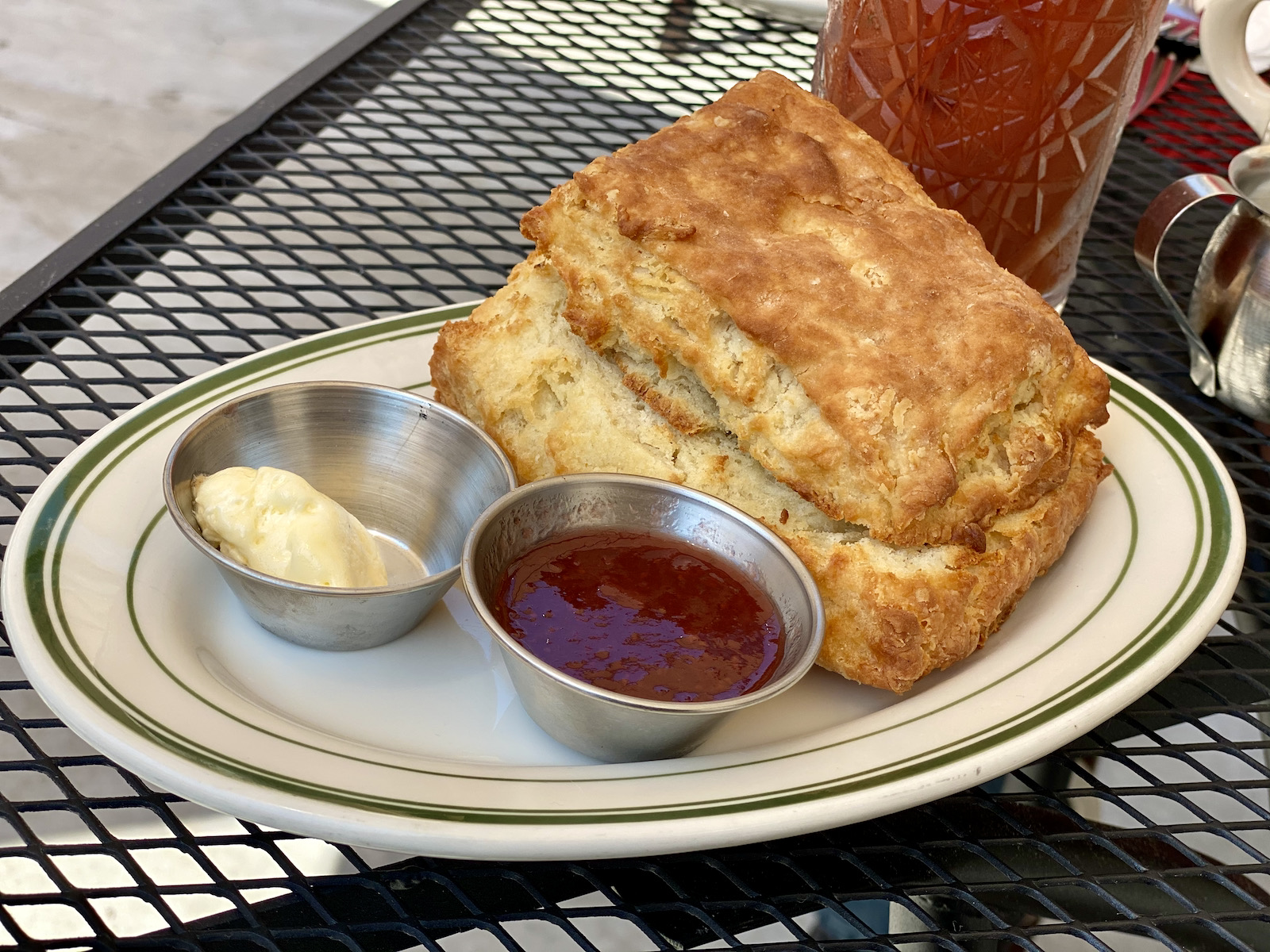 Buttermilk biscuit with butter and jam