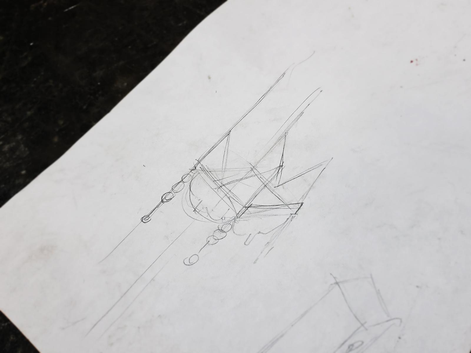 An hastily rendered design sketch for a speaker shelf.