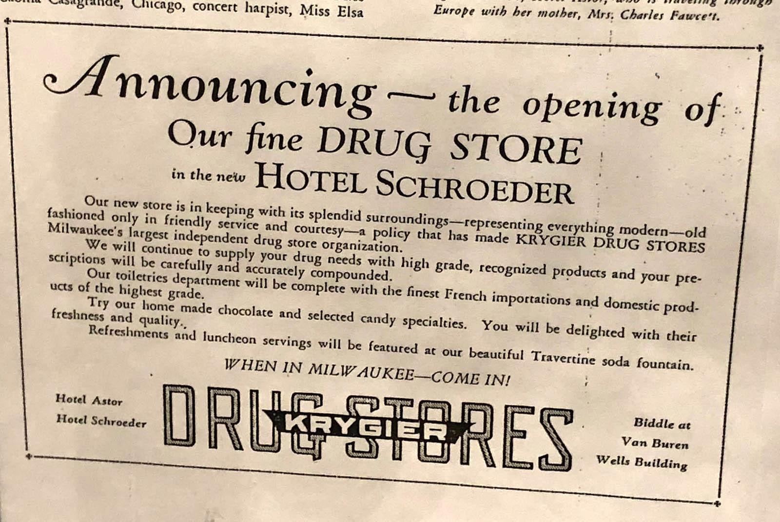 Hotel Astor drug store.