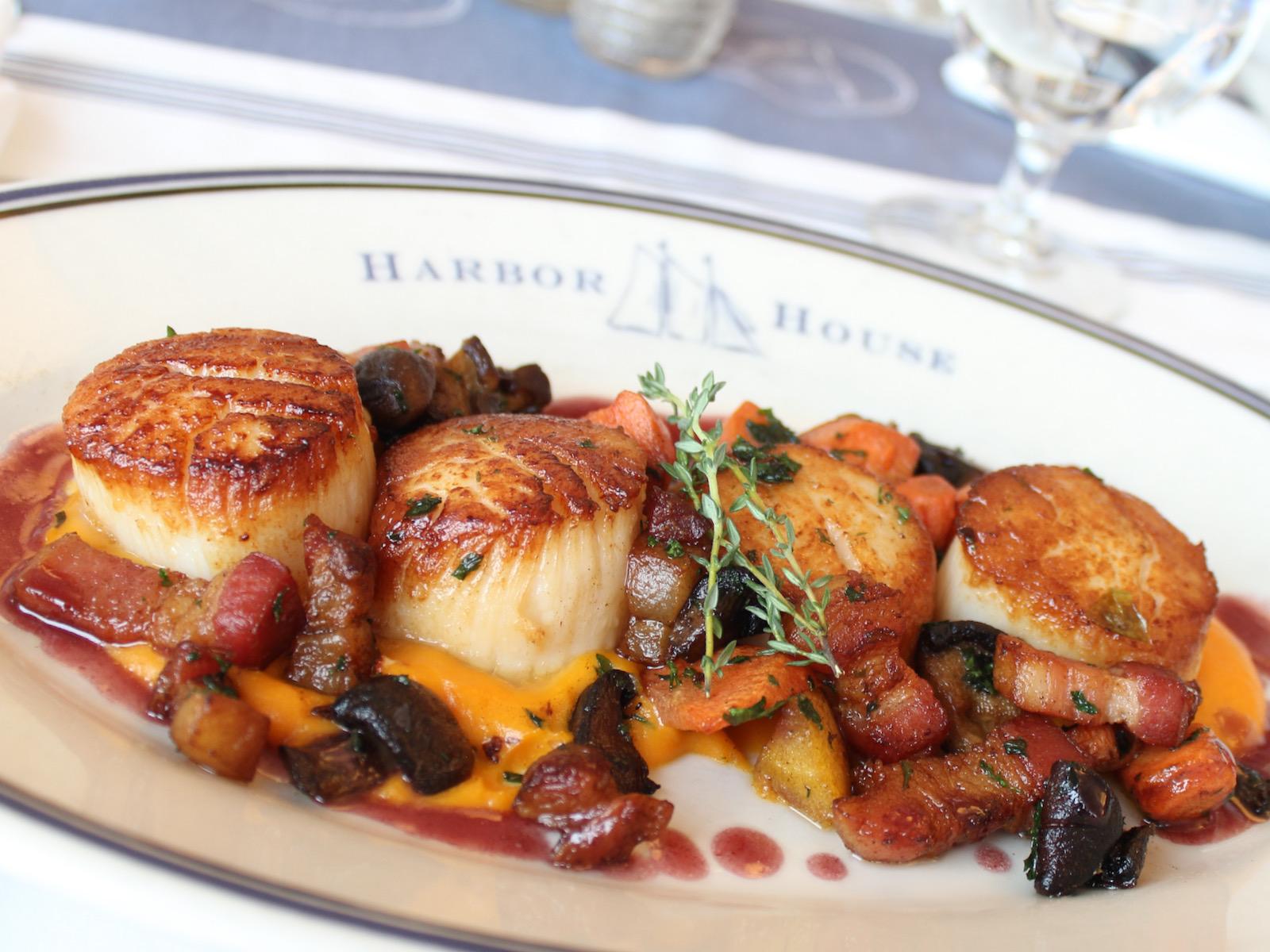 Seasonal scallop dish at Harbor House