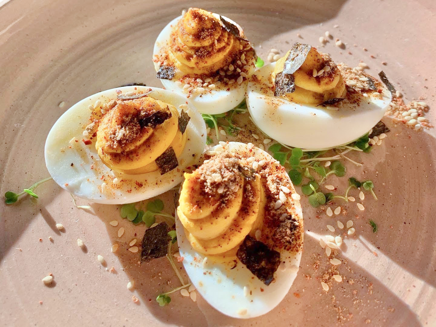 Miso deviled eggs from Hot Knife