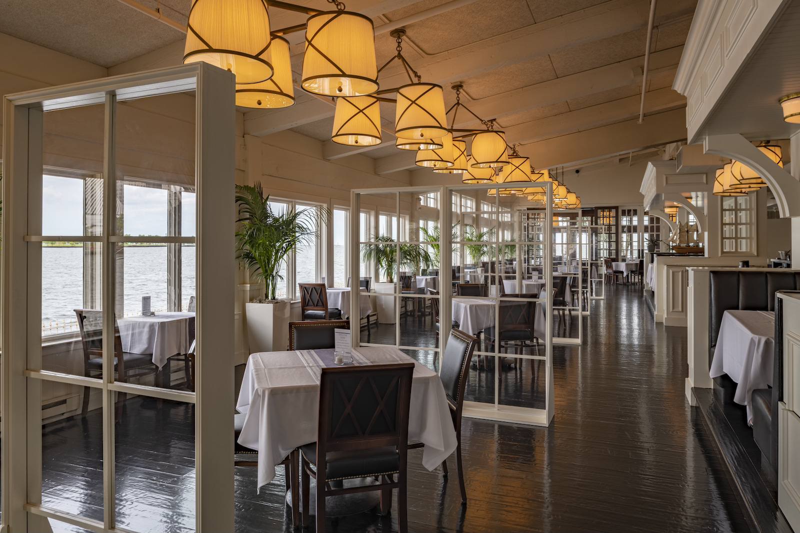 Bartolotta's Harbor House restaurant dining room, ready for safe indoor dining.