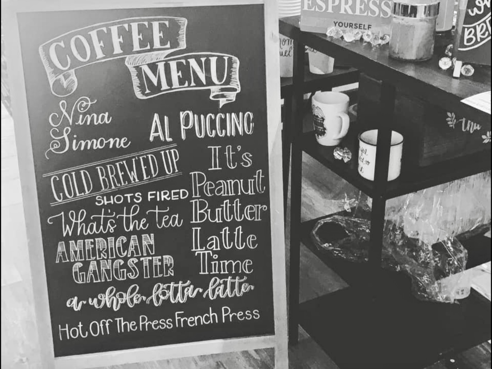 Boujee Cup of Joe menu board