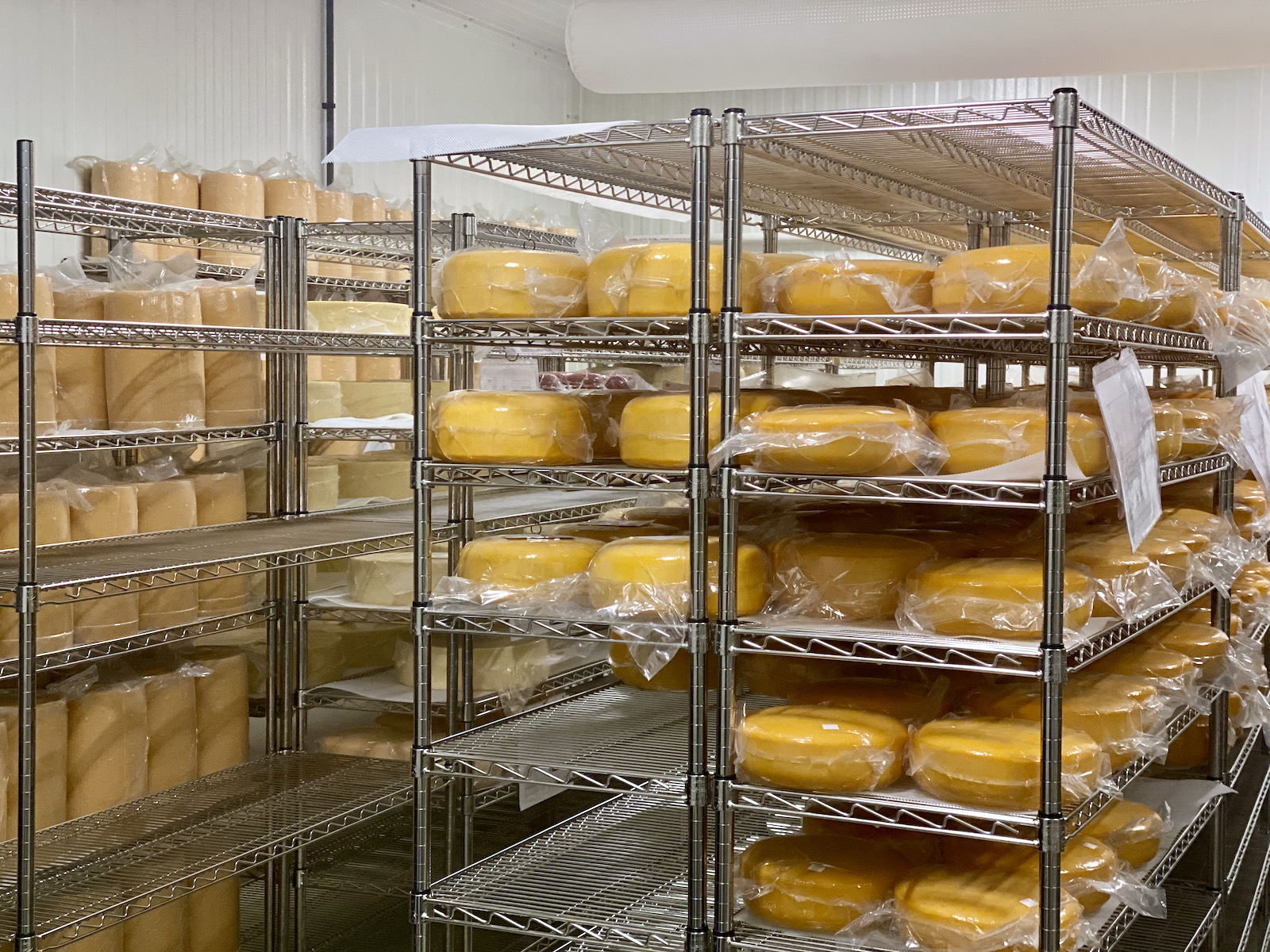 Cheese in the cave at Door County Artisan Cheese Co.