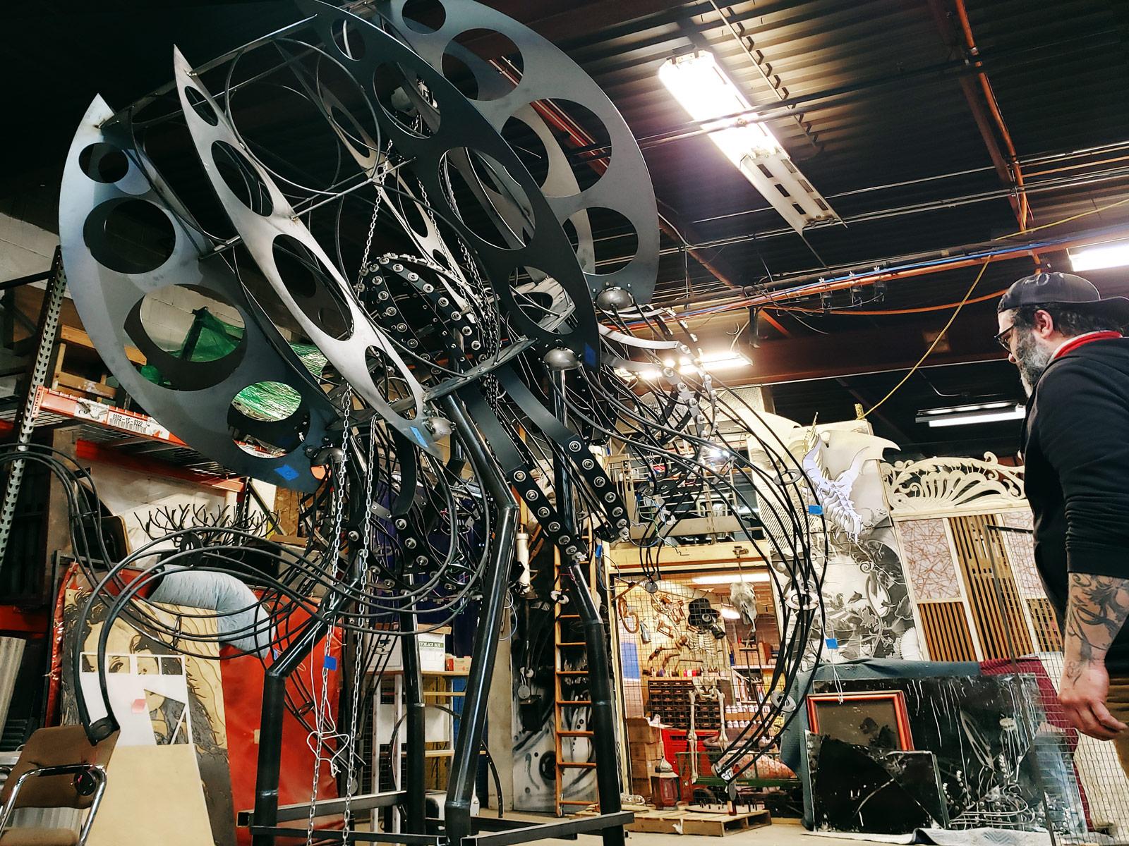 The still-in-progress jellyfish sculpture looms overhead.