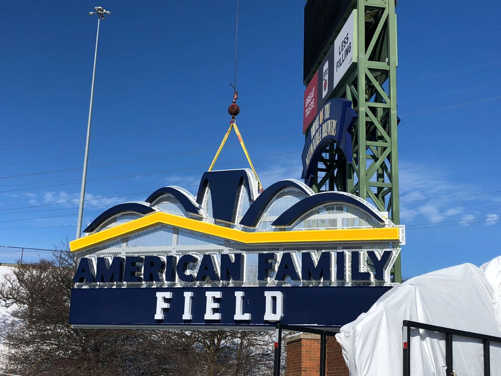 American Family Field sign going up
