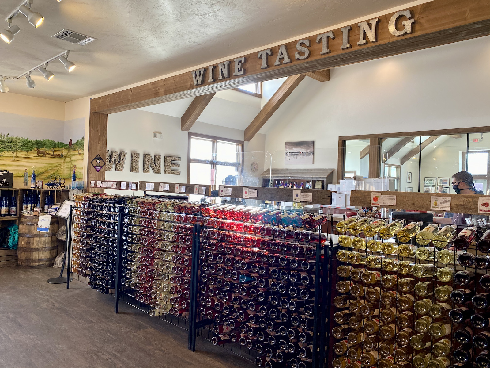 Wine tasting area at Lautenbach's Market