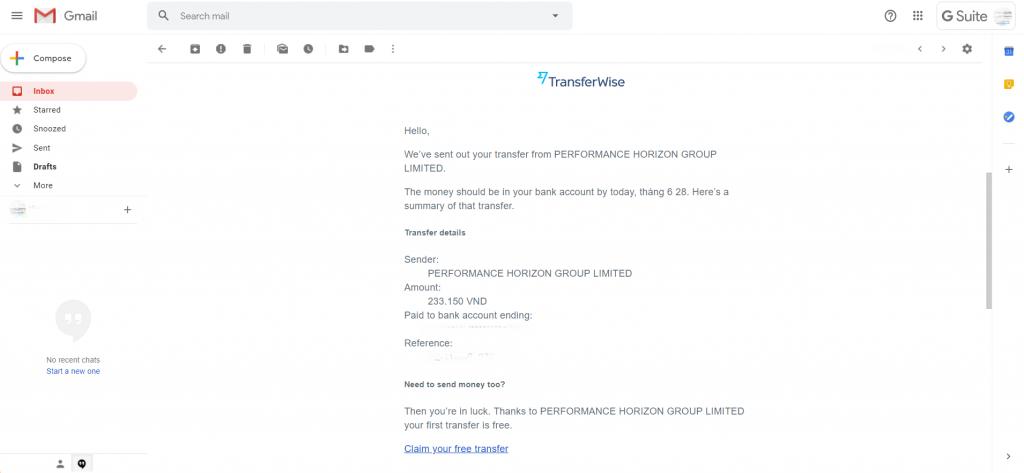 Email thông báo rút tiền hoa hồng tiếp thị liên kết Shopee thành công