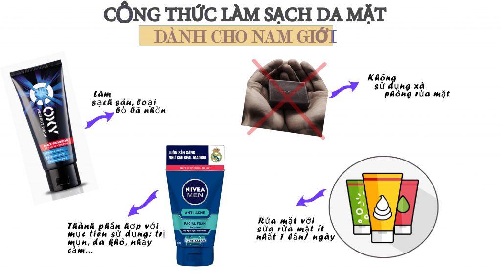 cách làm sạch, vệ sinh da mặt nam