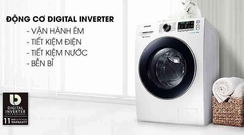 Máy giặt Samsung digital inverter 8kg cửa trước WW80J42G0BW. (Ảnh: Shopee.vn)