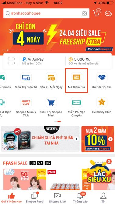 Mẹo săn mã khuyến mãi Shopee - Người mua có thể lưu mã trong mục Mã giảm giá trên trang chủ Shopee