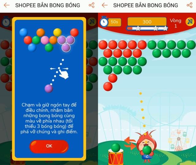 Bắn bóng Shopee được thiết kế theo mô típ game bắn trứng khủng long quen thuộc.