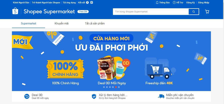Shopee Supermarket hỗ trợ miễn phí vận chuyển và deal 0Đ mỗi ngày cho người tiêu dùng.