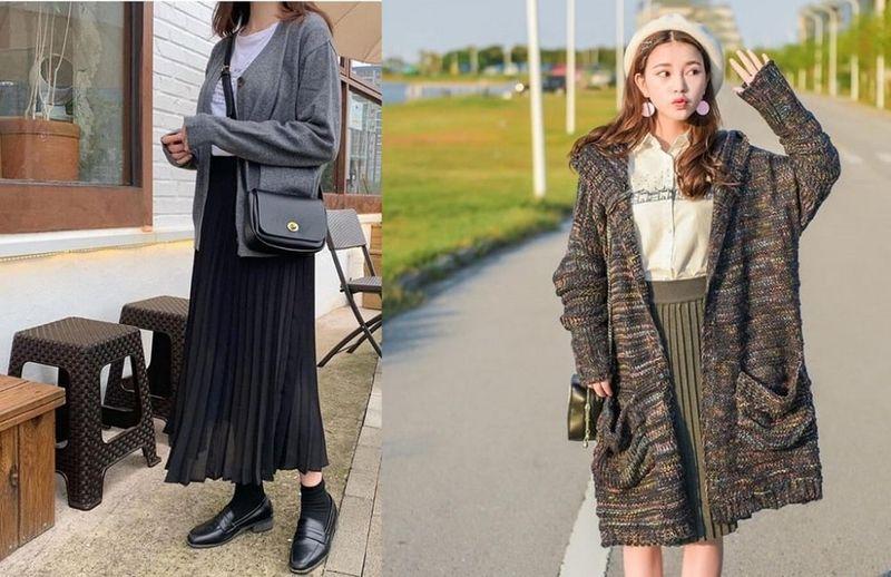Hóa cô gái Hàn Quốc với chân váy xếp ly dài và Cardigan