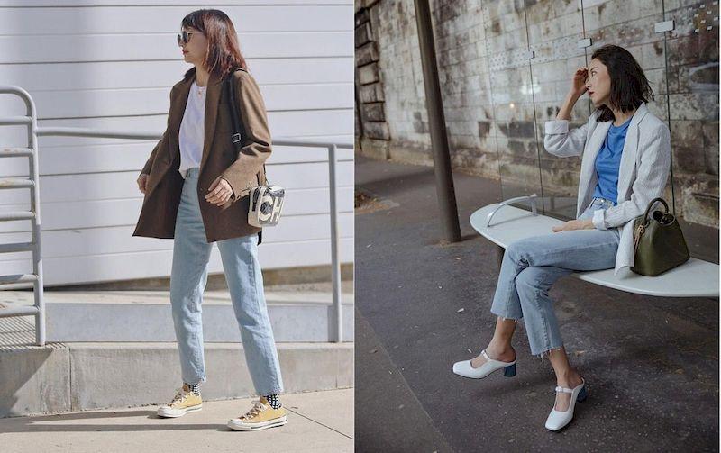Bộ đôi blazer và quần jean