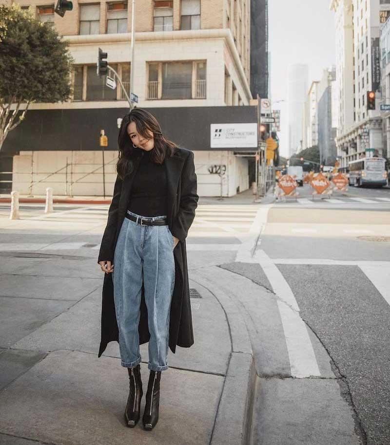 phối quần jean và áo dạ