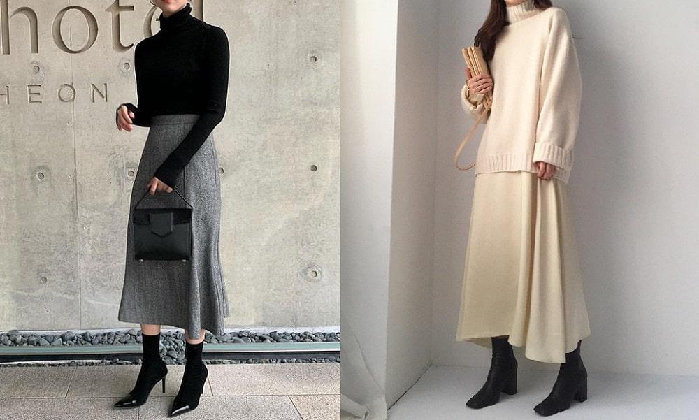 Phối áo len với chân váy dài kèm thêm boot và túi