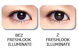 Bez i z soczewkami kontaktowymi Freshlook Illuminate