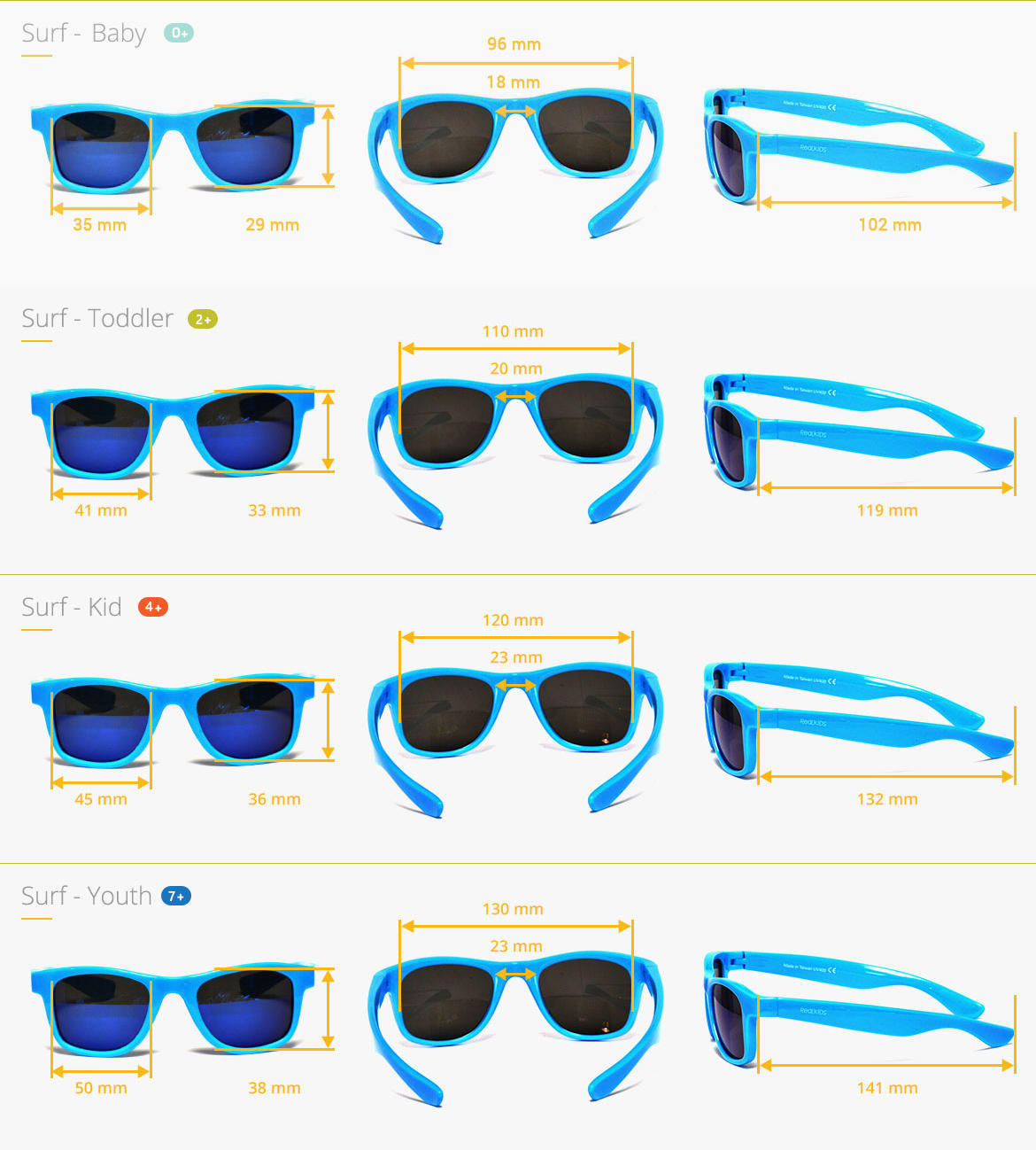 Sizes of Real Shades Surf sunglasses