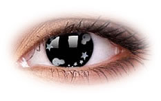 Star and Jewel Silver Star | Black Contact Lenses