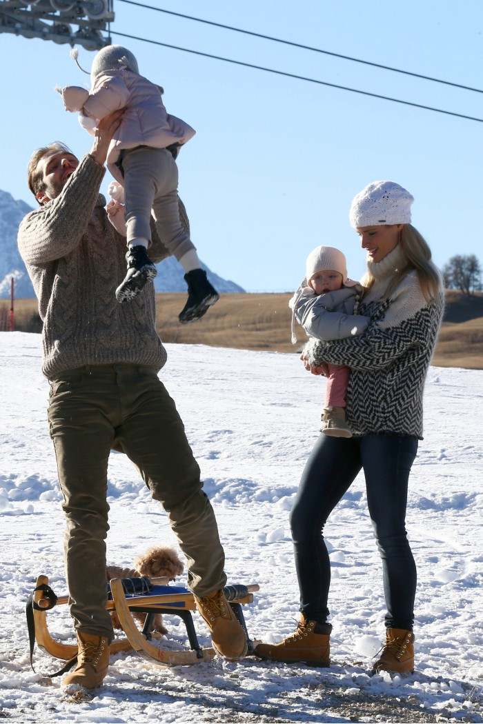 Michelle Hunziker and Tomaso Trussardi on holiday with family in the Italian mountains Pictured: Michelle Hunziker, Tomaso, Sole and Celeste Trussardi Ref: SPL1190550 061215 Picture by: Machete Splash News Splash News and Pictures Los Angeles:310-821-2666 New York: 212-619-2666 London: 870-934-2666 photodesk@splashnews.com