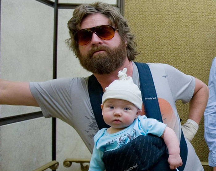"(L-r) ZACH GALIFIANAKIS as Alan holds Baby Tyler, BRADLEY COOPER as Phil and ED HELMS as Stu in Warner Bros. Pictures' and Legendary Pictures' comedy ""The Hangover,"" distributed by Warner Bros. Pictures. PHOTOGRAPHS TO BE USED SOLELY FOR ADVERTISING, PROMOTION, PUBLICITY OR REVIEWS OF THIS SPECIFIC MOTION PICTURE AND TO REMAIN THE PROPERTY OF THE STUDIO. NOT FOR SALE OR REDISTRIBUTION."