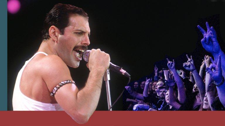 Freddie Mercury under Live Aid 1985.