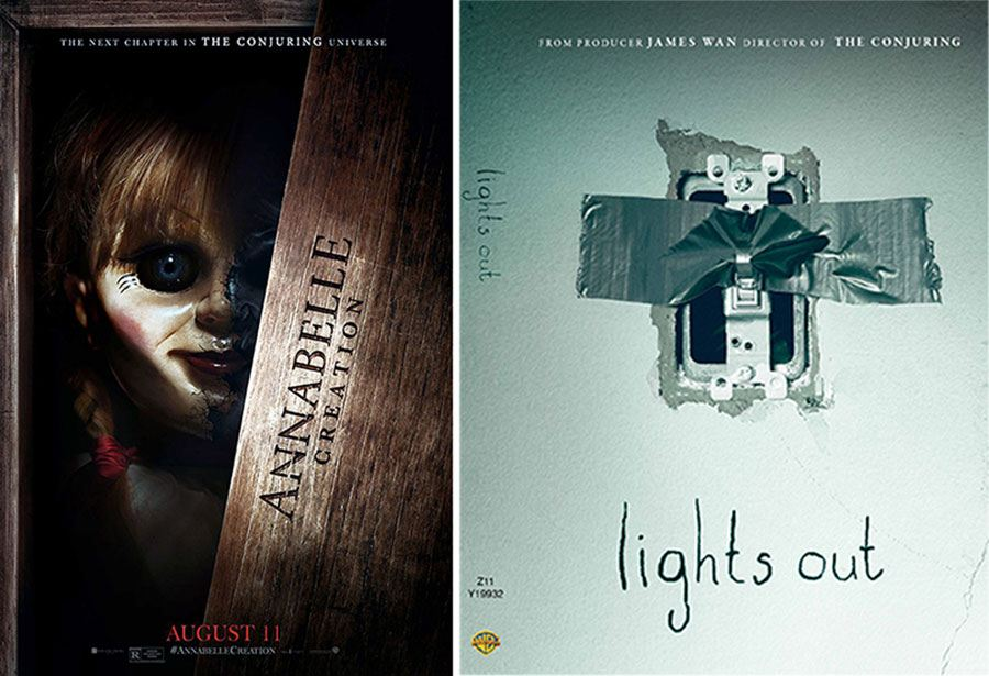 Posters omslag Lights out och Annabelle.