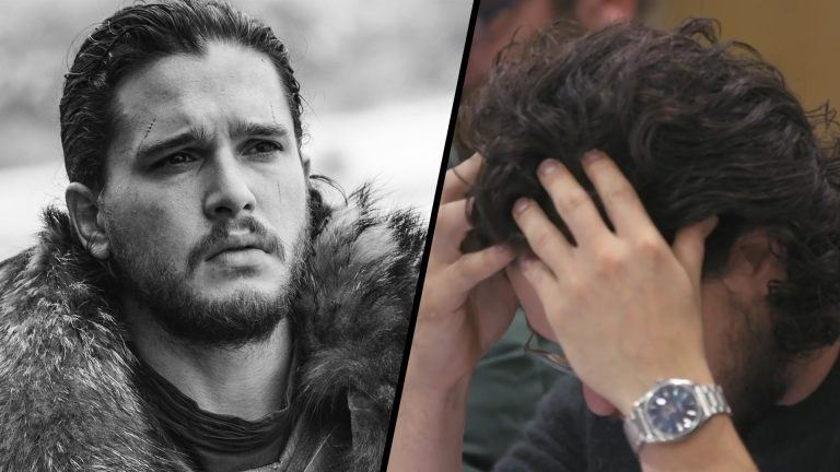 Kit Harrington i tårar samt Jon Snow, Kit Harringtons karaktär i Game of Thrones
