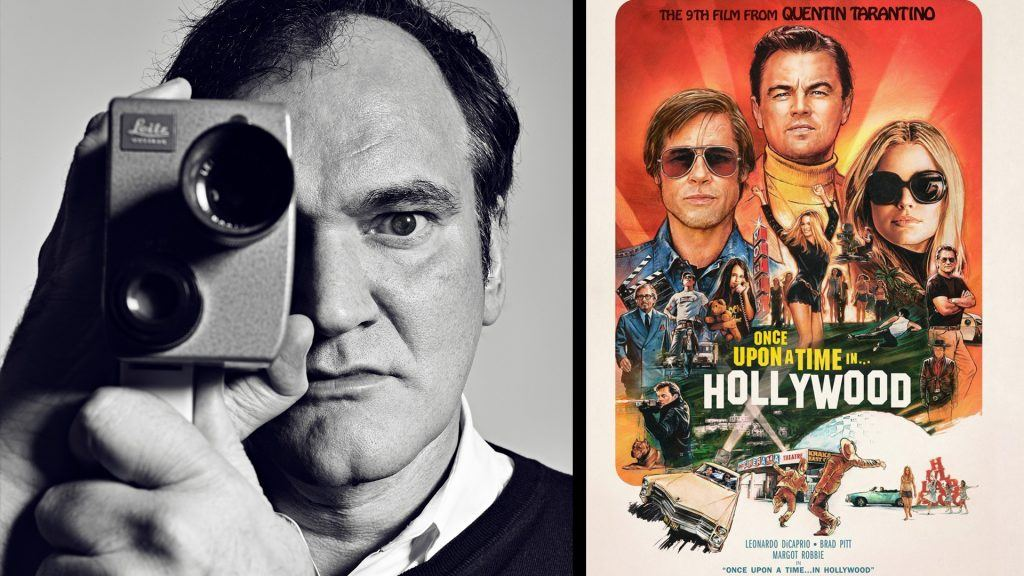 "Quentin Tarantino och filmpostern till ""Once Upon a Time in Hollywood"""