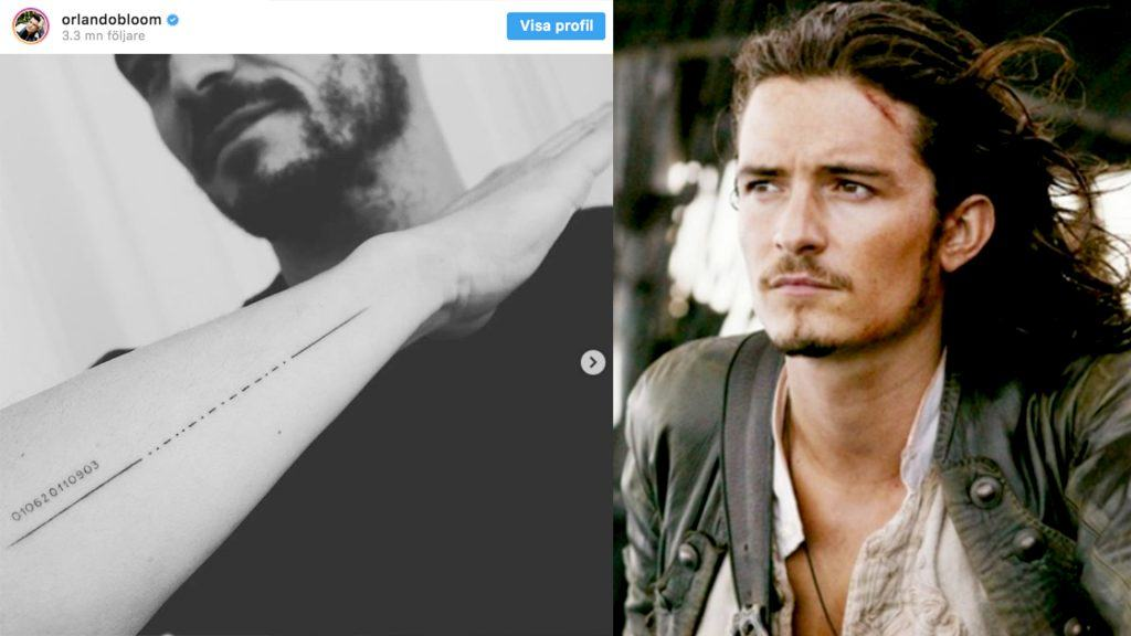 Orlando Bloom med tatuering och Orlando Bloom i Pirates of the Caribbean.