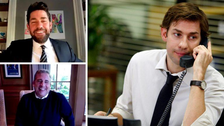 John Krasinski i The Office och Steve Carell och John Krasinski pratandes på webcam.