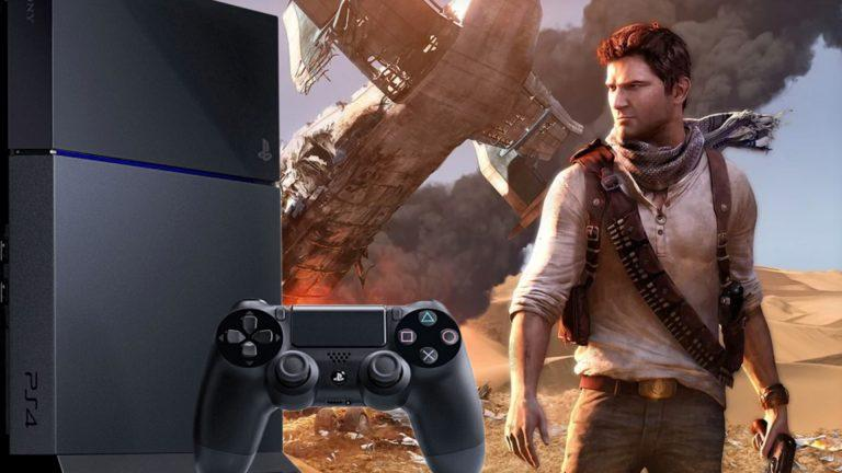 Playstation 4 och Nathan Drake i tv-spelet Uncharted.
