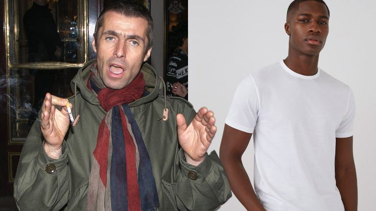 Liam Gallagher och kille i vit t-shirt