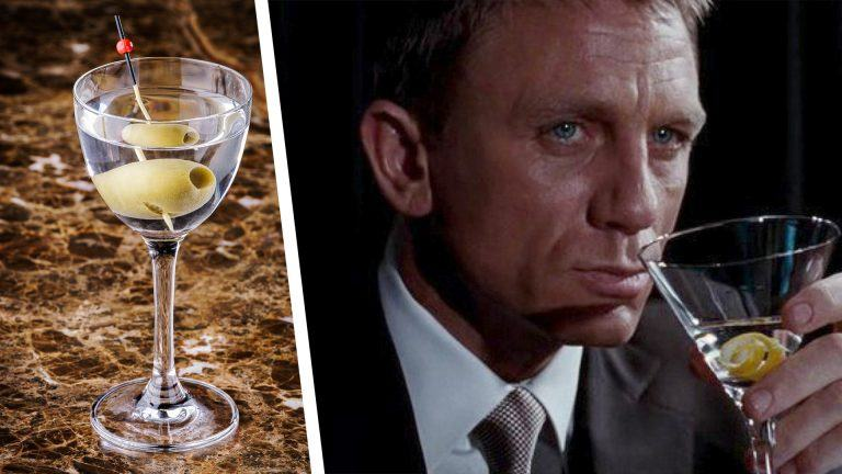 Dry Martini drink och James Bond som dricker en dry martini