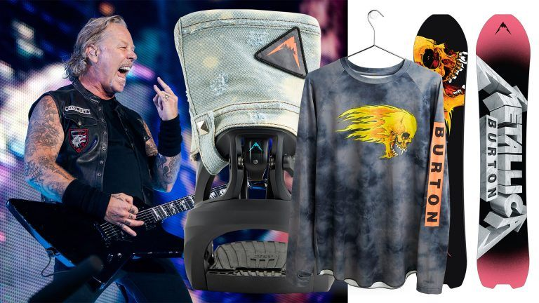 James Hetfield i Metallica och Burton Snowboards kollektion med Metallica