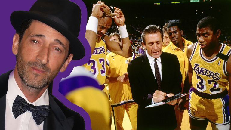 Adrien Brody och Los Angeles Lakers basketlag under 80-talet