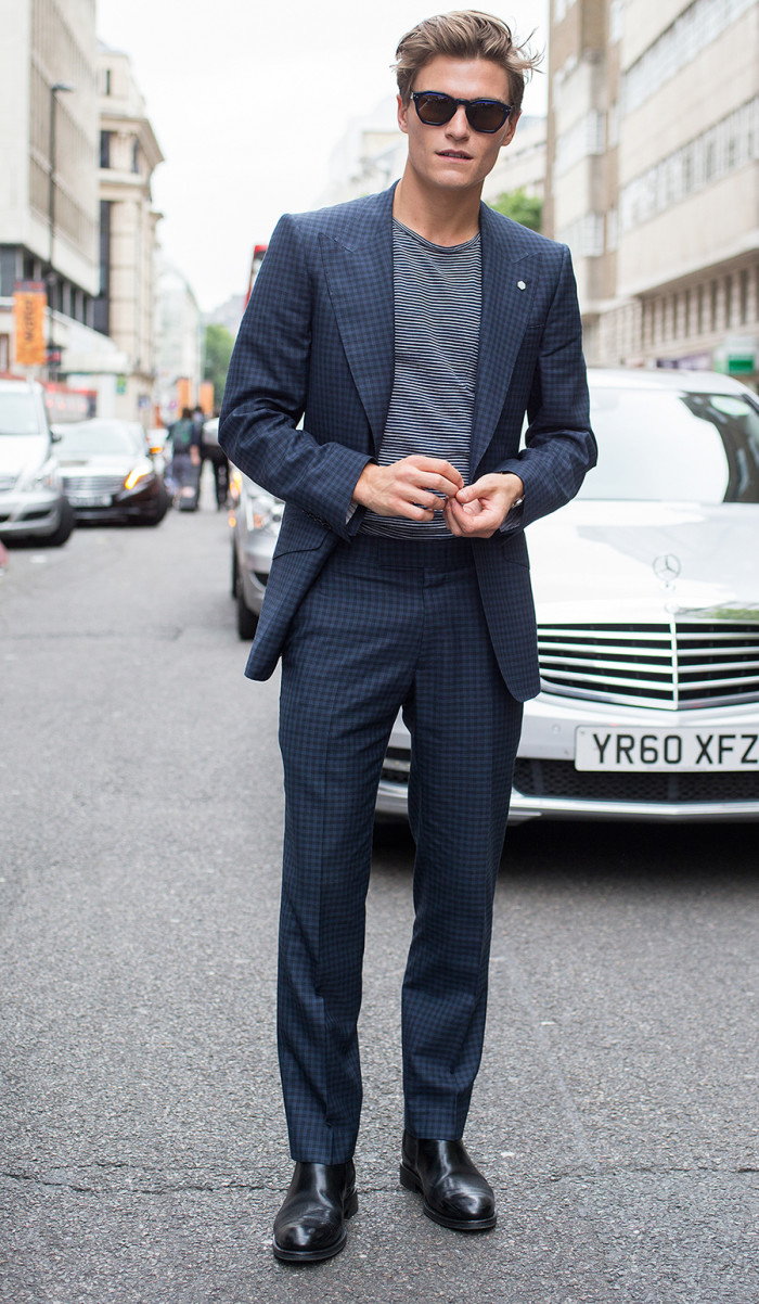 Oliver Cheshire; Model; Eye Respect glasses; M&S Best of British suit; Reiss top; Russell and Bromley shoes;