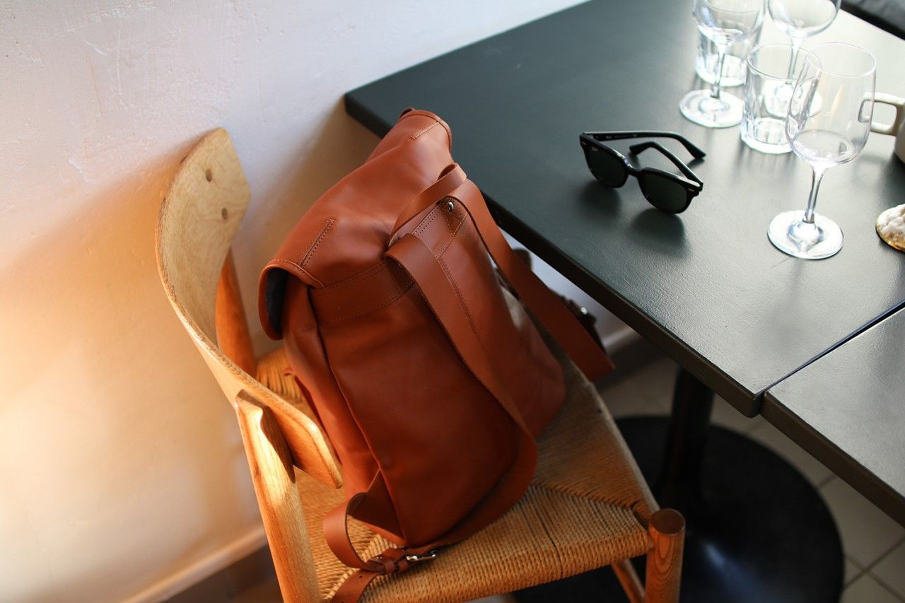 leather back pack